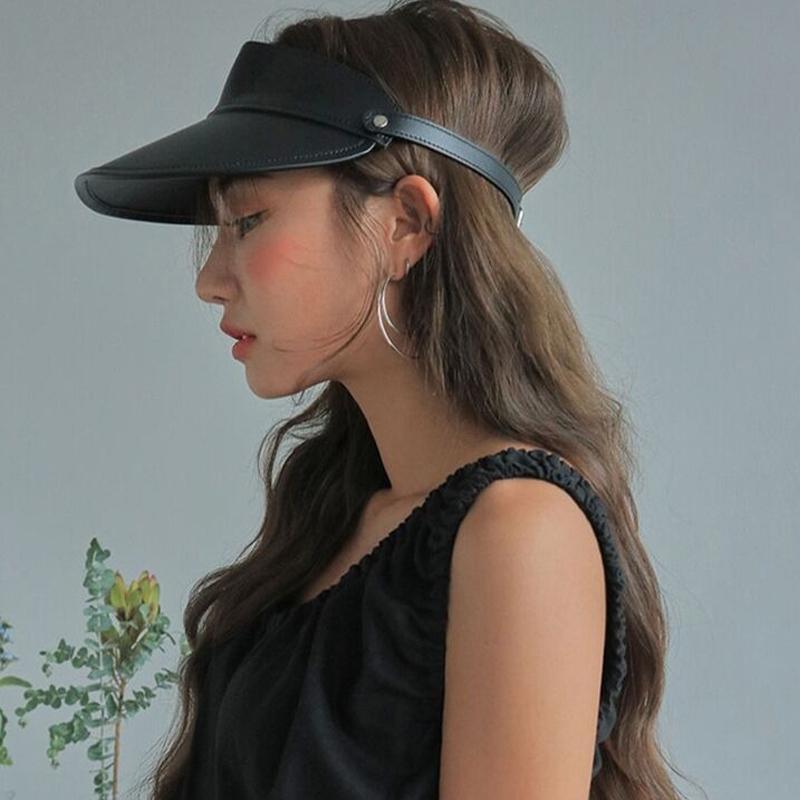 Kaliteli Deri Üst Güneş Şapkalar Yaz Casual Vahşi Boş Üst Beyzbol Erkekler Kadınlar Trend Travel Leisure Şapkalar Drop Shipping Caps boşaltın