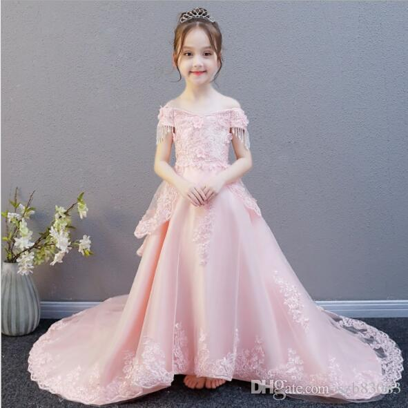 2019 New Pink Tulle Butterfly Lace Baby Girl Dress Newborn Girl Baptism Gown Birthday Wedding Dress for Infant Party Pageant