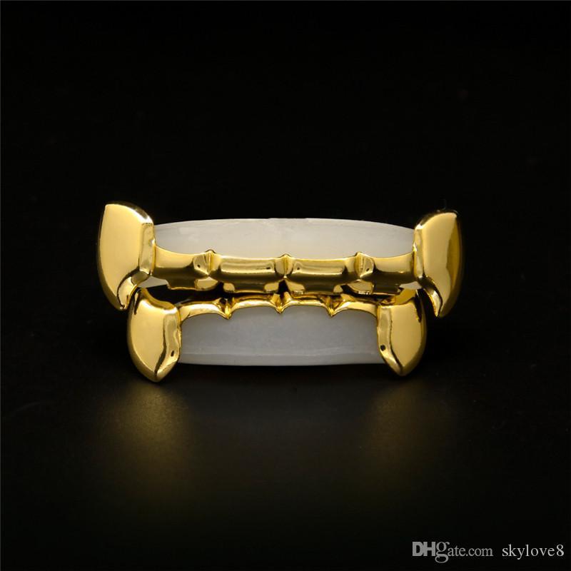 Or usine directe hip hop unisexe accolades chanteurs européens et américains avec les mêmes crocs accolades dents plaquées or bretelles décoratives