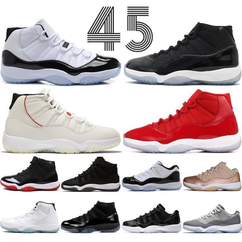 Concord High 45 11s Platinum Tinta Cap and Gown Uomo Scarpe da Basket Gym Red Bred Barons Space Jams 11 mens Sport Sneakers designer 5.5-13