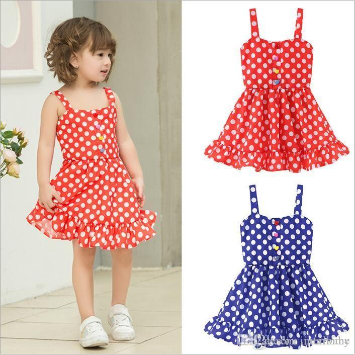 Kids Baby Girls Polka Dot Casual Summer Dress Party Beach Sundress Clothes 1-5Y