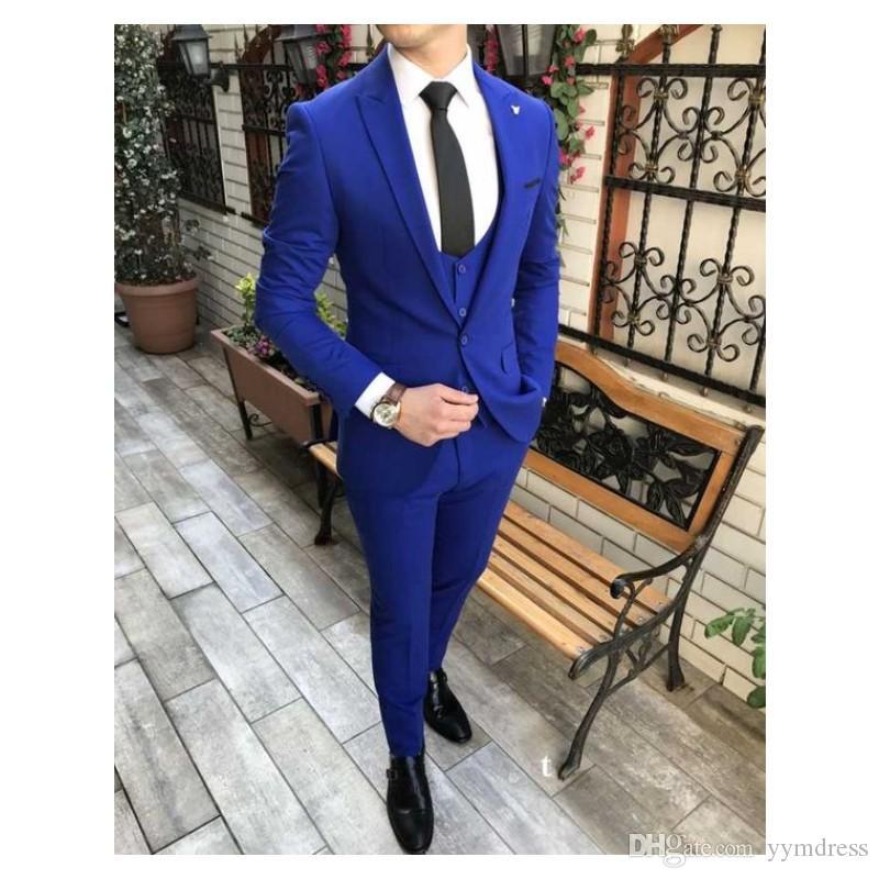 Royal Blue Men Suit For Wedding Two Button Slim Fit Men Formal Party Tuxedo 3 Piece Suit (Jacket+Pants+Vest+Tie)