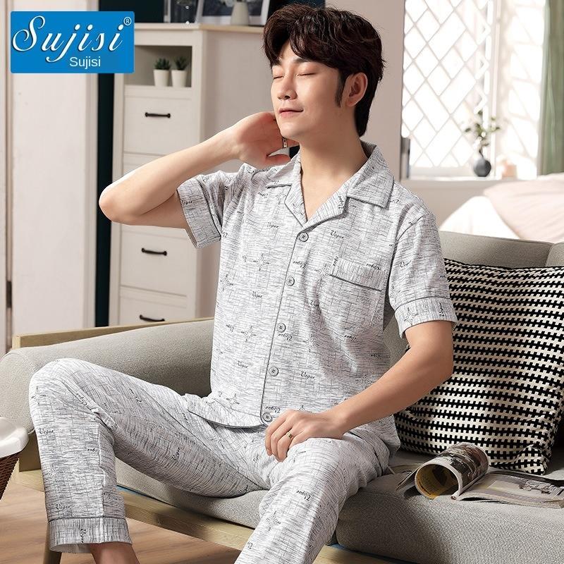 Cotton pijama calças de manga curta cardigan lapela de Vestuário pijama homens soltos grande de algodão tamanho de roupa fina casa