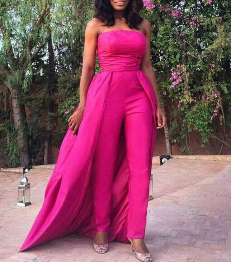 Longues robes de soirée femmes Jumpsuit avec superposition jupe mode bustier rez-de-chaussée formel Party Party Wear Custom Made
