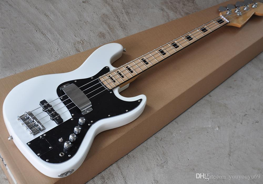 4-струнная электрическая бас-гитара с активной цепью, клен, черная колонка, индивидуальное обслуживание