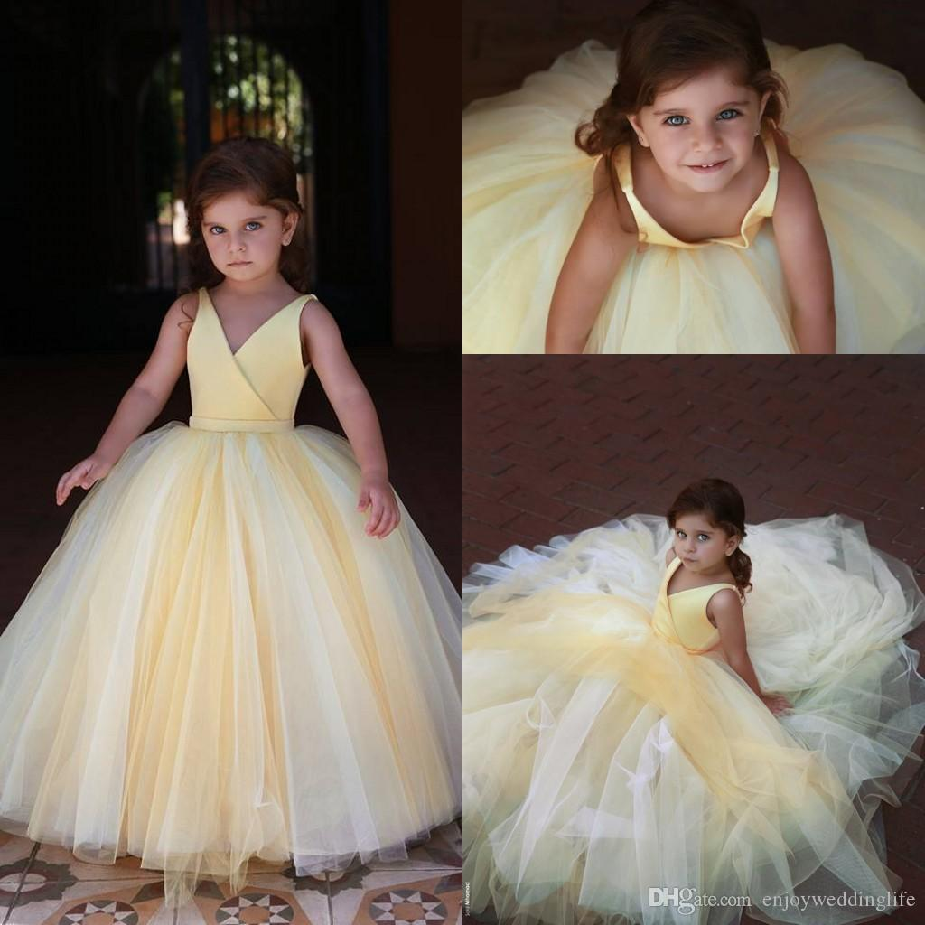 2020 New Light Yellow Little Girls Flower Girls Abiti scollo a V in raso A Line Tulle bambini usura formale Cheap Birthday Party Wear