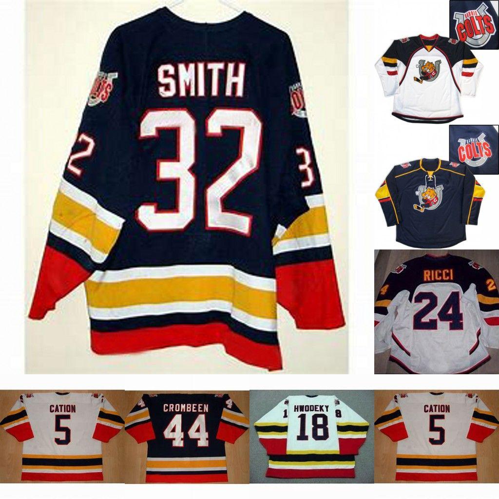 Barrie Colts 18 Rick Hwodeky 5 24 Fab Ricci Cation 32 Smith 44 Crombeen des femmes des hommes jeunes cusotm un nom tout numéro de hockey chandails