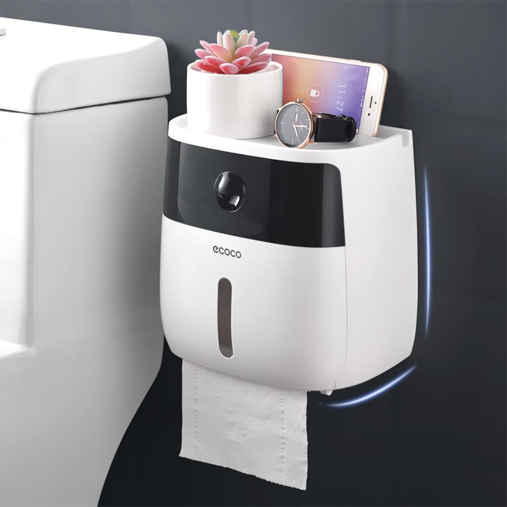Tejido caja de papel titular montado en la pared de papel higiénico dispensador de plástico creativo fuerte Bañera soporte del papel higiénico de almacenamiento