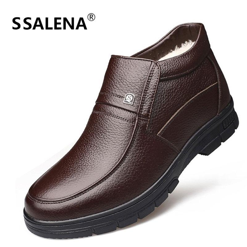Bay Bot Sıcak Kürk Deri Bilek Boots Erkek İngiliz Stil Baba Hediye Kış Siyah Kahverengi Yüksek Üst Ayakkabı Rahat ayakkabılar D0459