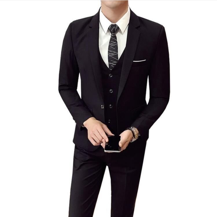 (Veste + Pantalon + gilet) Hommes Mariage Costume Mâle 3 Pièces ensemble version coréenne Blazers Slim Fit costume d'affaires mode Costume formel Hommes costume