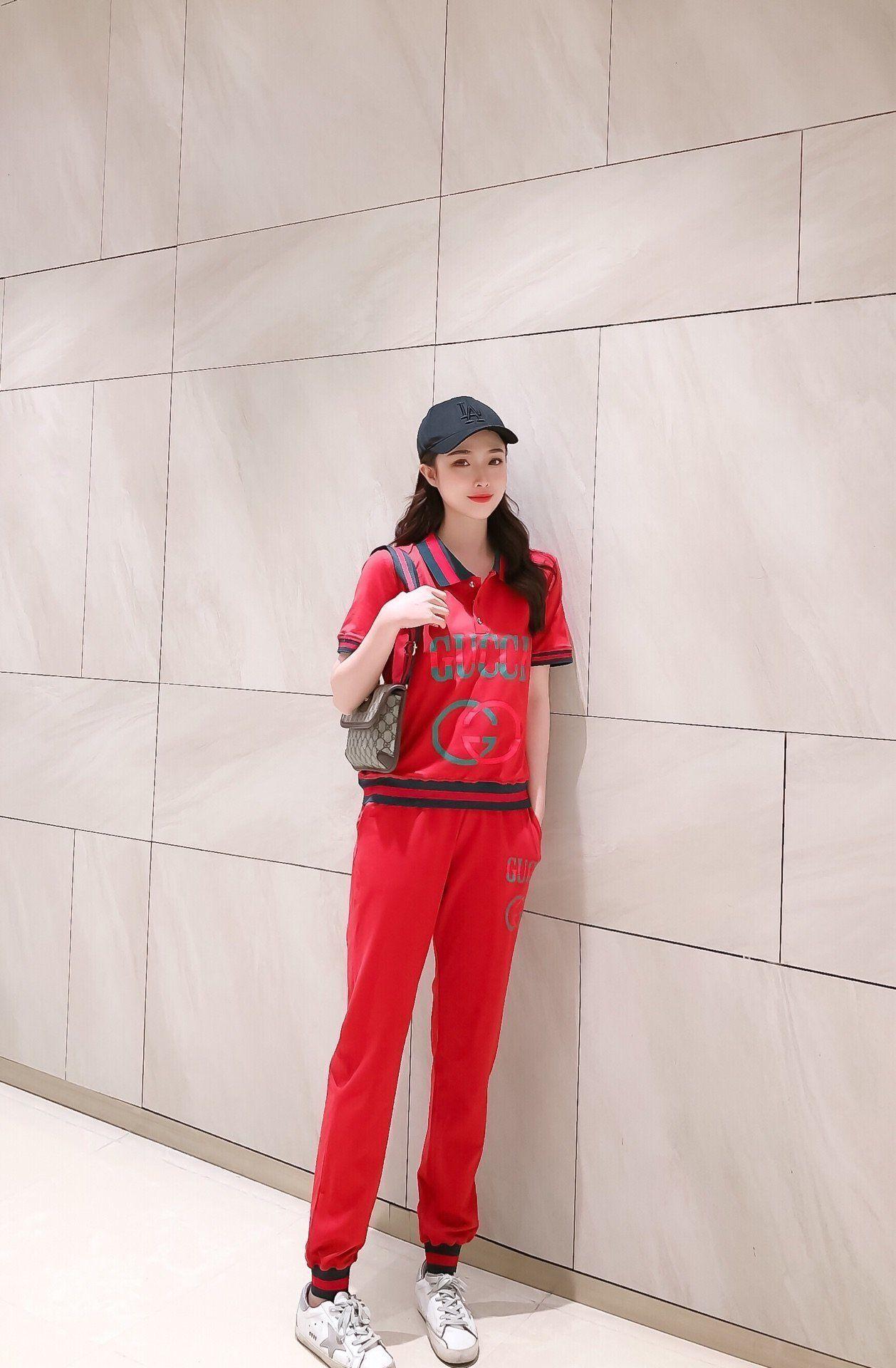 2020 di alta qualità delle signore pantaloni Set tops + Pantaloni 2 pz primavera e l'Estate Casual Set Abbigliamento Moda D2TGFVE8