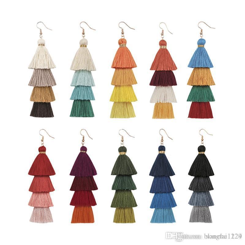 10 Farben Modische Böhmische Lange Quaste Ohrringe Weibliche Mehrschichtige Handgemachte Ohrring Eardrop Baumeln Kronleuchter Großhandel Verkauf