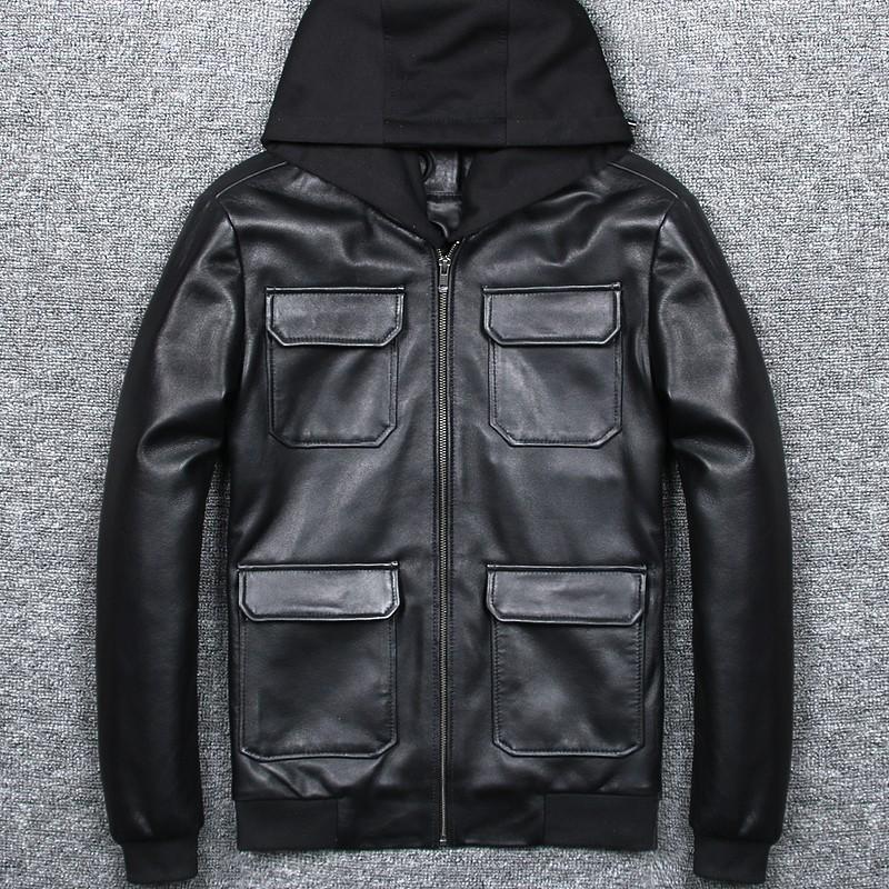남성 지퍼 칼라 캐주얼 플러스 사이즈 5XL 양모 진짜 가죽 폭격기 재킷 스탠드 가을 슬림핏 후드 정품 가죽 자켓