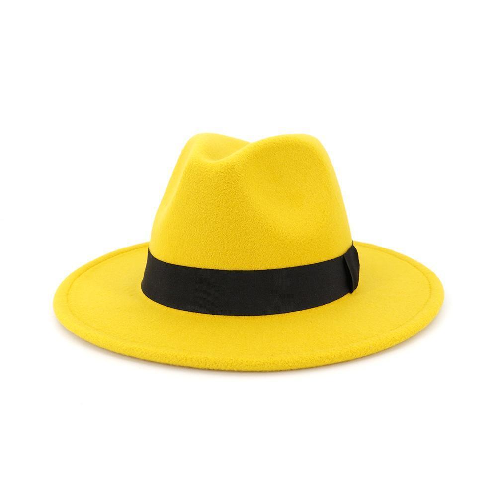 Tendência Unisex feltro de lã Jazz Fedora Hats Casual Homens Mulheres fita Banda aba larga chapéu de feltro Panamá Trilby Cap formal do partido