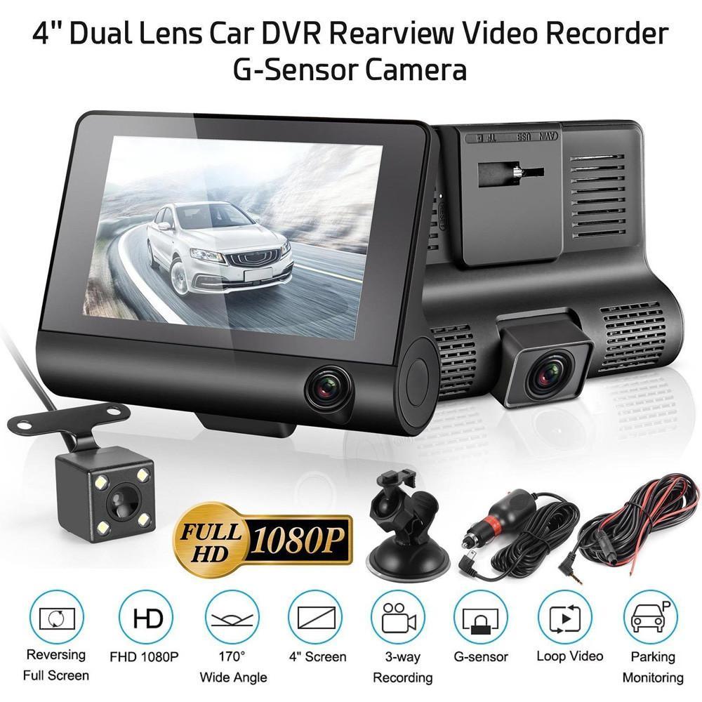3 عدسة السيارات DVR 4INCH HD 1080P سيارة كاميرا للرؤية الليلية داش المحمولة كاميرا فيديو مركبة مسجلة سيارة كاميرا الرؤية الخلفية