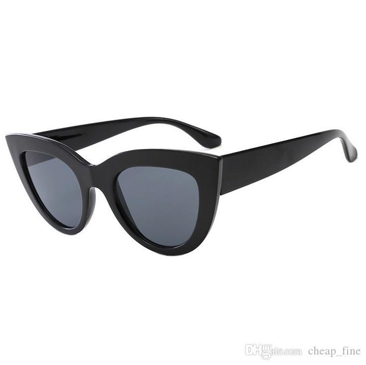 2019 mode sonnenbrillen frauen cat eye luxus designer vintage sonnenbrille farbe augenlinsen brille lunette de soleil femme 2166