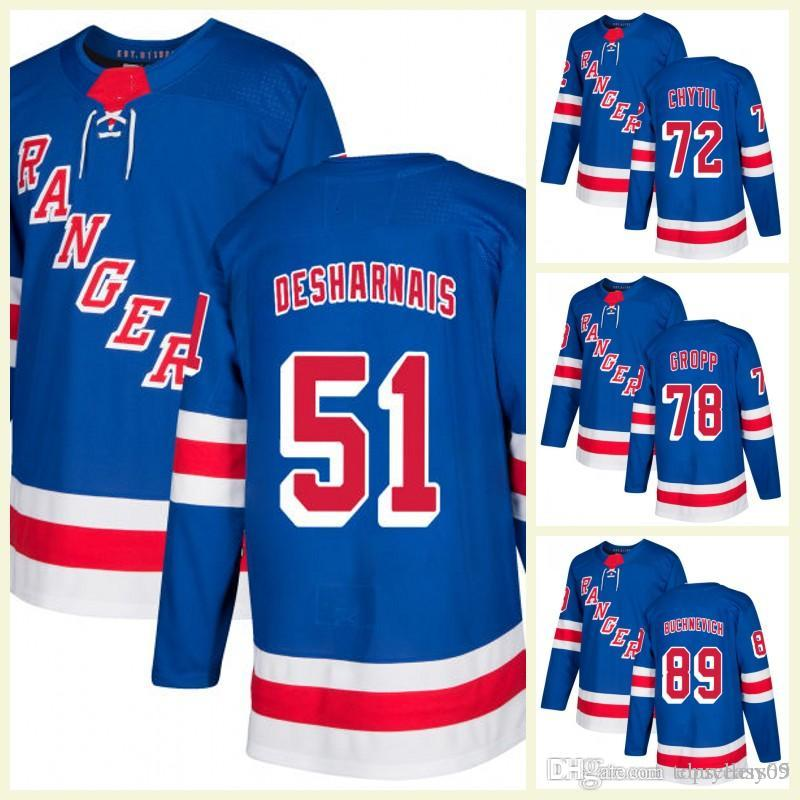 New York Rangers 27 Ryan McDonagh Hockey Trikot Herren Filip Chytil 50 Lias Andersson 28 Paul Carey 51 David Desharnais Heimtrikots Blau