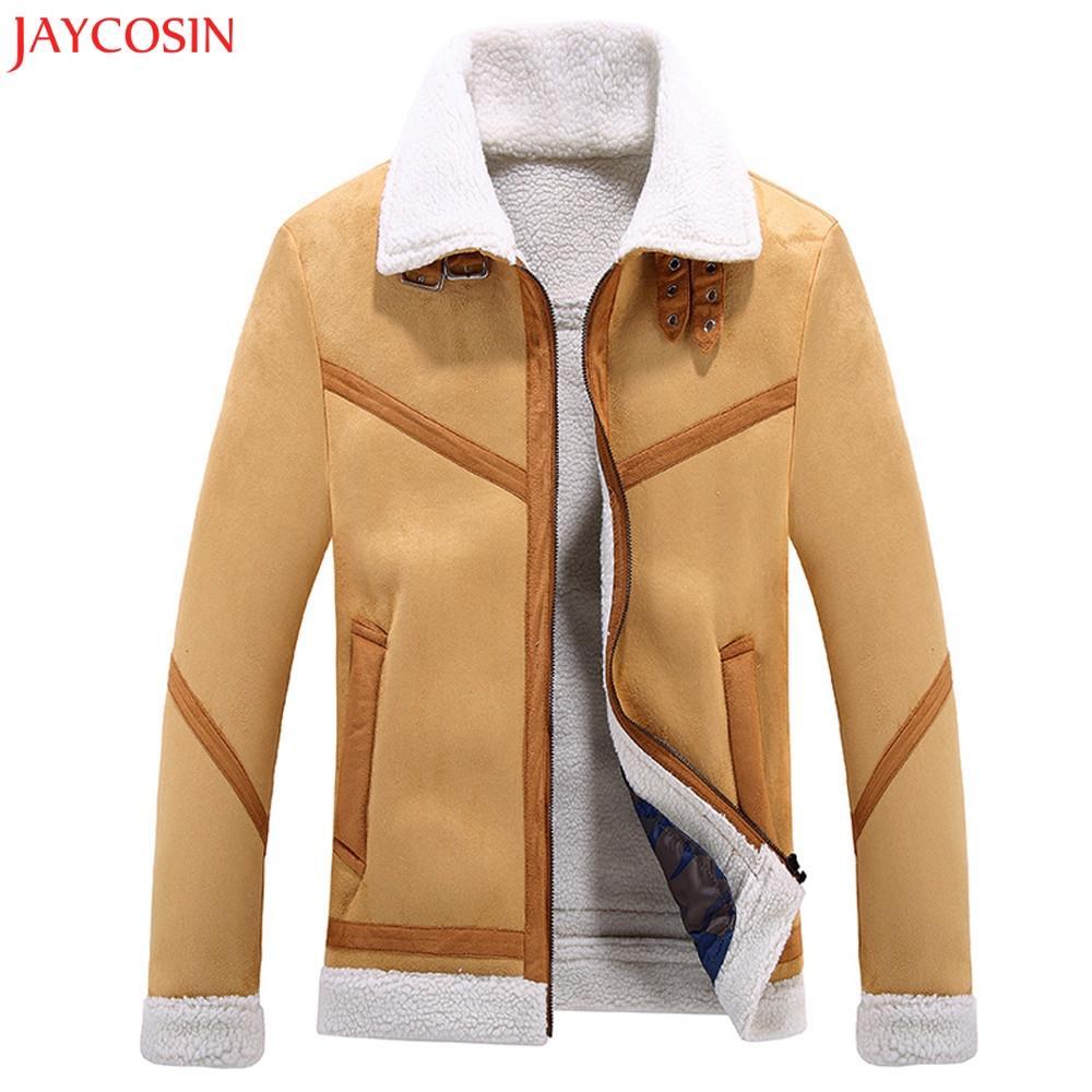 Jaycosin 1PC 남성 겨울과 가을 안티 벨벳 재킷 남성 패션 트렌드 양고기 폴리 에스터 섬유 모피 브라운 버튼 코트 z1122