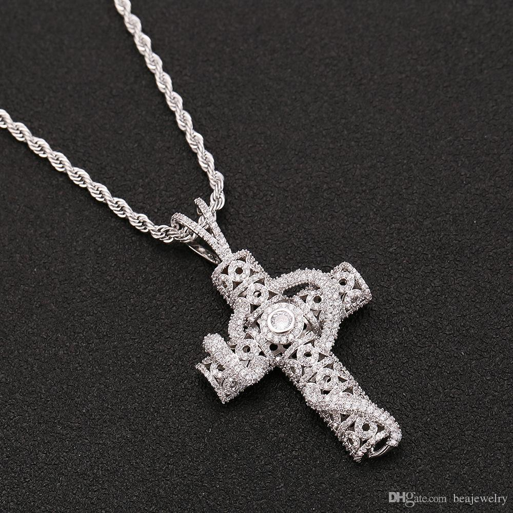 Collana con catena da tennis con pendente a forma di serpente con croce in argento 4mm Collana in argento con diamanti a forma di anello in argento con zirconi