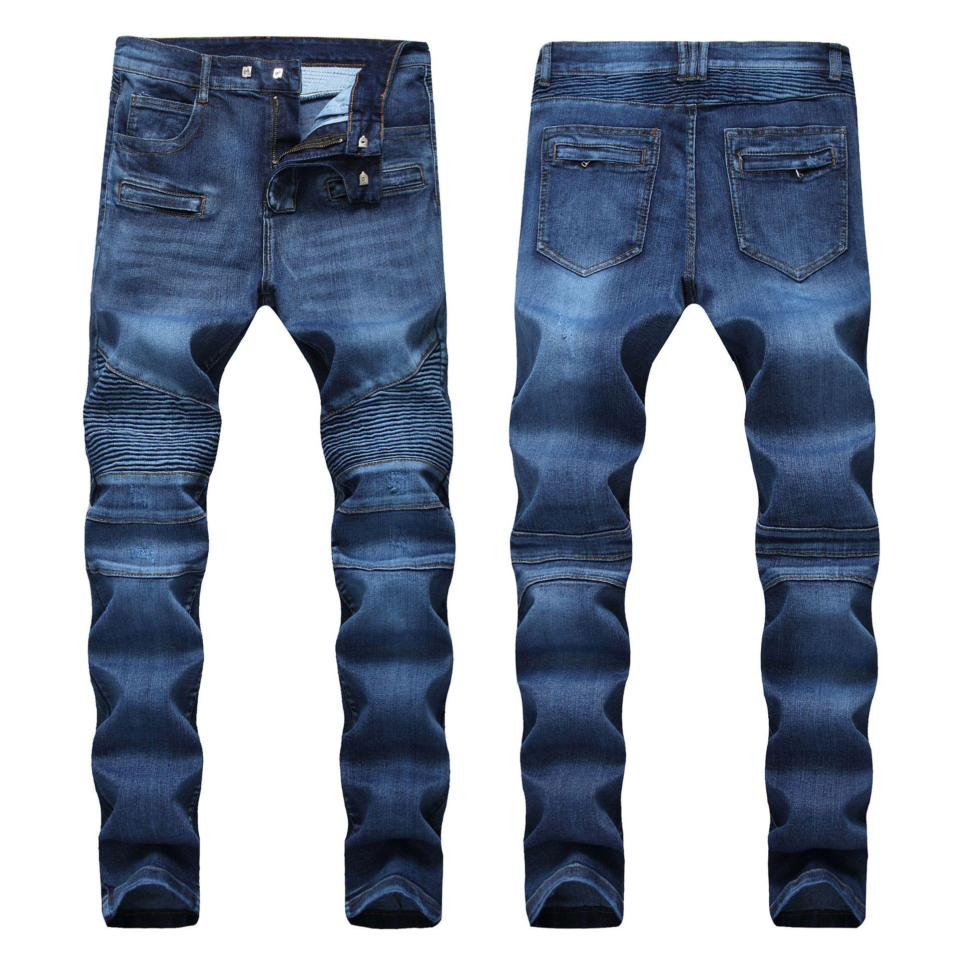 jeans degli uomini design originale Slim moto pantaloni in denim hip hop afflitto i jeans strappati moda magro