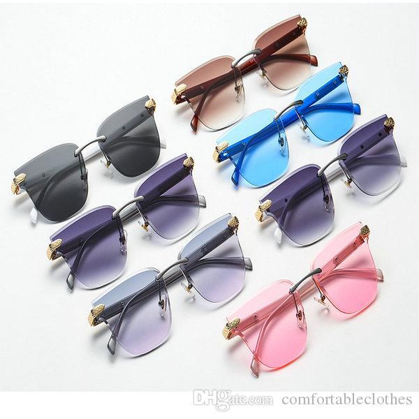 Gradiente de las gafas de sol sin marco rosado de la pendiente sin montura gafas de sol de las mujeres de gran tamaño Gafas diamante de corte Gafas de sol Mujer sin marco VbqMS C