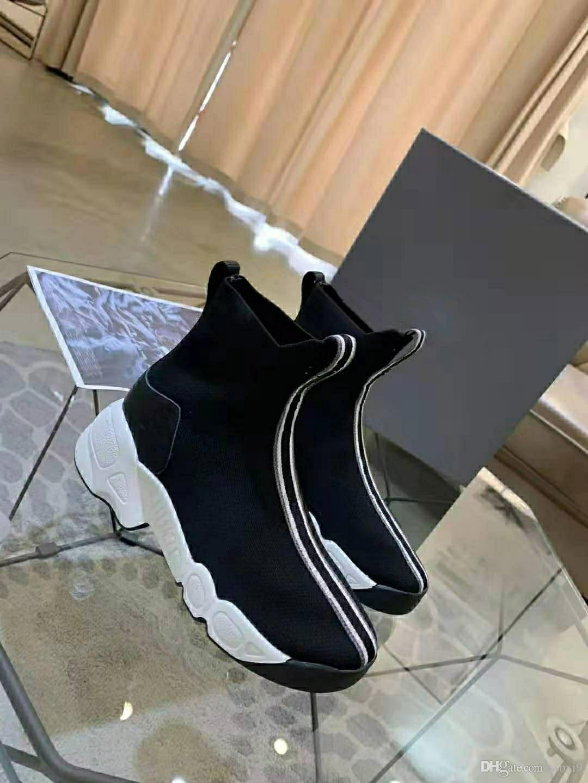 Enviar com caixa de sapatilhas Speed Trainer Runner Preto / Ouro cor da moda planas Meias Botas Casuais sapatos tamanho 36-40