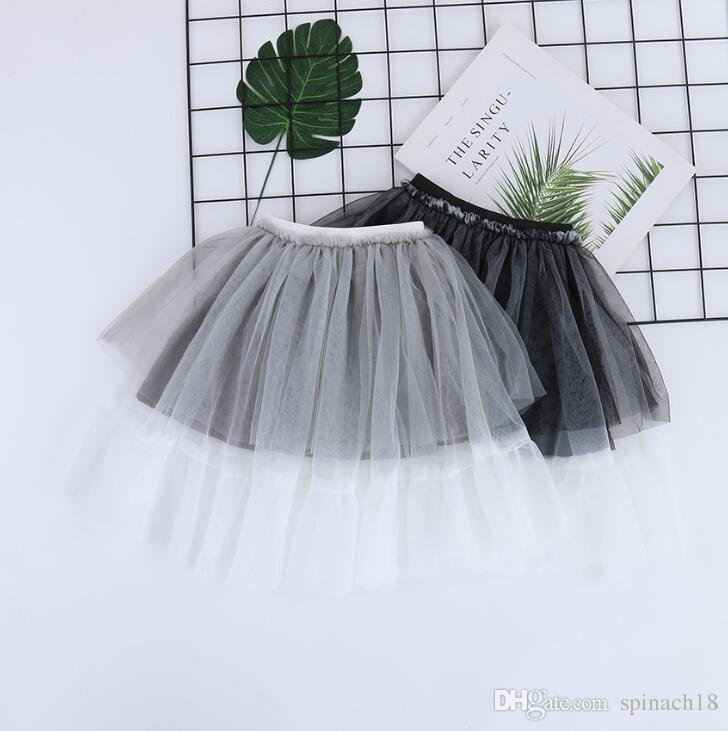 New Spring Summer Baby Girls Lace Skirt Kids Tulle Tutu Princess Skirts Children Casual Skirts Gray Black 4660