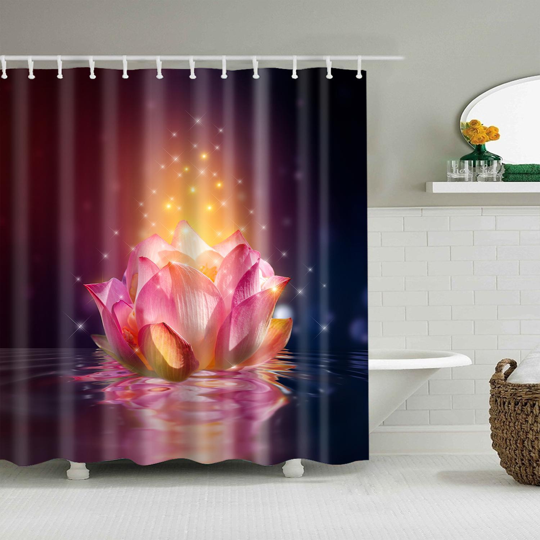 Paesaggio piante di bambù fiori di loto 3d Bagno di stampa singola tenda della doccia in poliestere impermeabile per il bagno Decor 180x200 cm