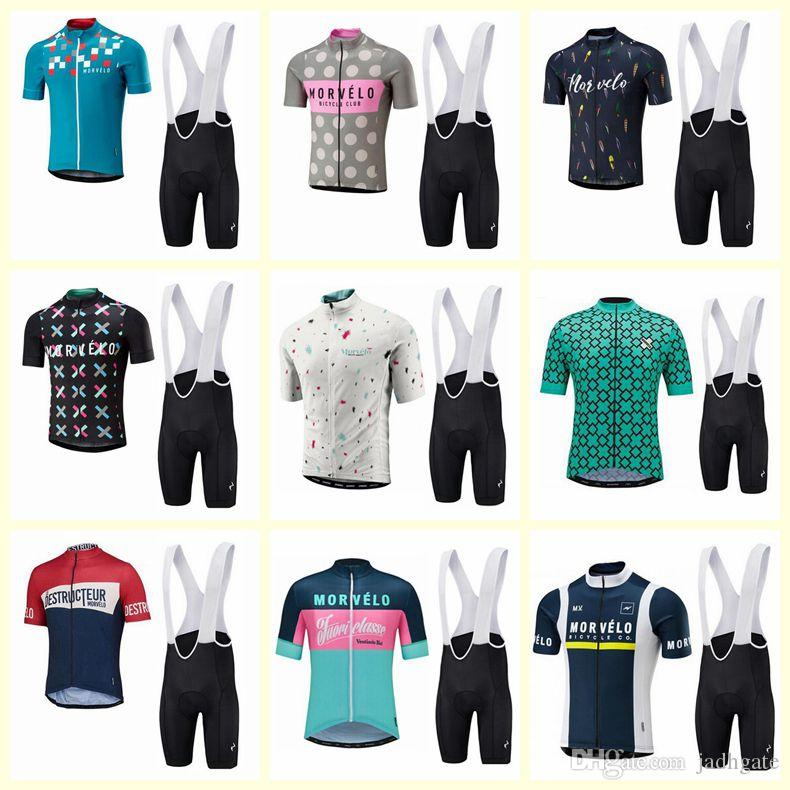 Morvelo team Cycling Short Sleeves jersey bib shorts Sleeveless Vest sets pro team men's summer breathable cycling jersey kit D2336