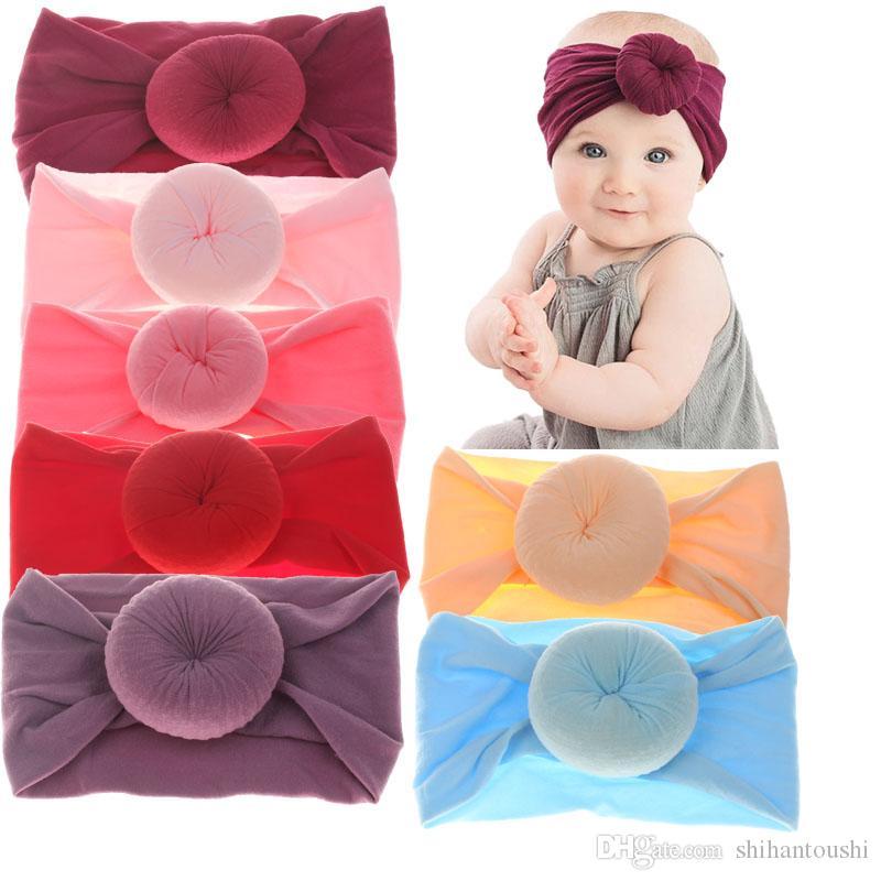 Baby girls Knot Ball Headbands Kids hair band Children Headwear Boutique hair accessories 22 colors Turban C5245