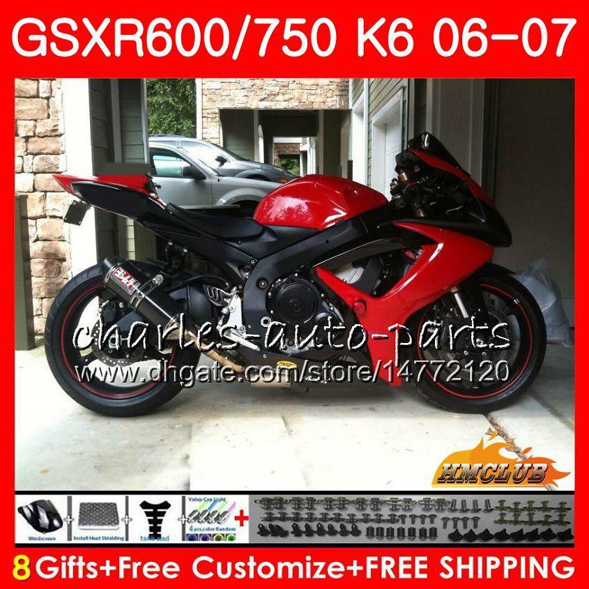 Körper für Suzuki GSX R750 GSX R600 GSXR 600 750 GSXR750 06-07 8HC.81 GSXR-750 GSX-R600 K6 GSXR600 06 07 2006 2007 Stock Red BLK Fairing Kit