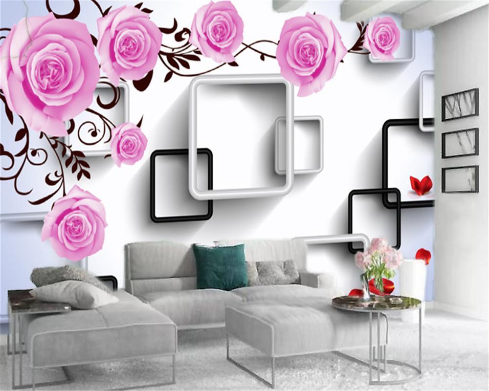 흑백 프레임 인테리어 장식 바탕 화면 사용자 지정 3 차원 꽃 배경 화면 아름다운 핑크 장미