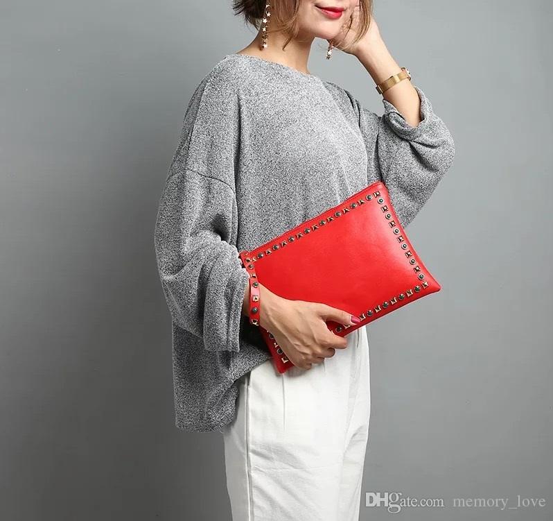 Rivet envelope bag 50pcs New design women's handbag rivet envelope bag large capacity fashion Clutch bag