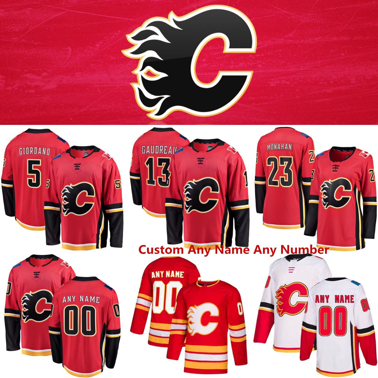 GLZTY Maillot de Hockey sur Glace Calgary Flames pour Homme 19 Tkachuk 68 Jagr 13 Gaudreau Lettres Cousues Chiffres Jersey T-Shirt Respirant /à Manches Longues