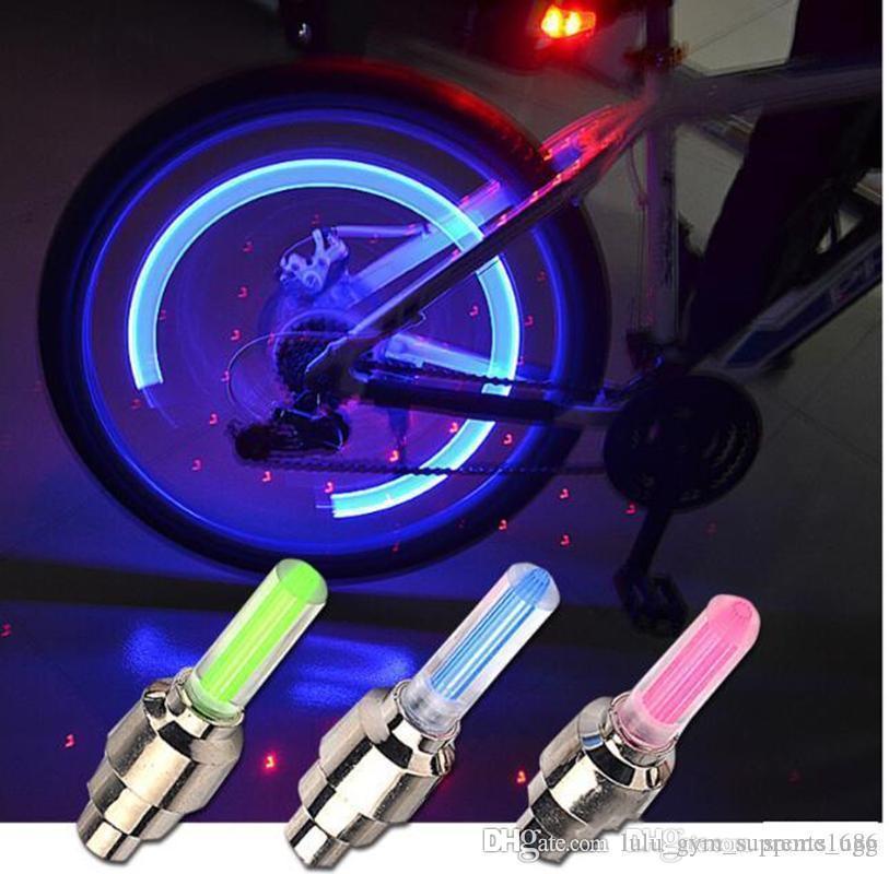 2X Firefly luces de la boca de gas Spoke válvula de la rueda LED del tallo Lámpara Cap neumáticos de movimiento luz de neón de la montaña de la bicicleta de la motocicleta del coche de 4 colores