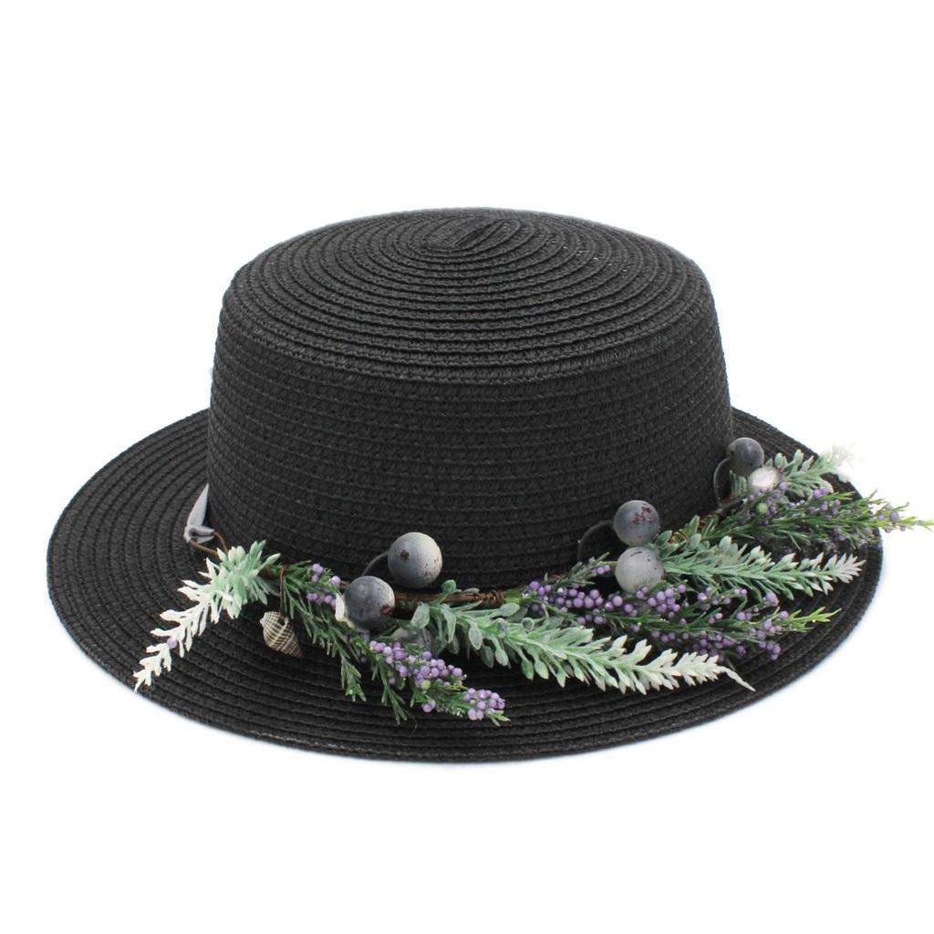 أزياء المرأة السيدات الصيف سترو القبعة قبعة الشاطئ أحد حماية بحار الرامي كاب شقة الأعلى