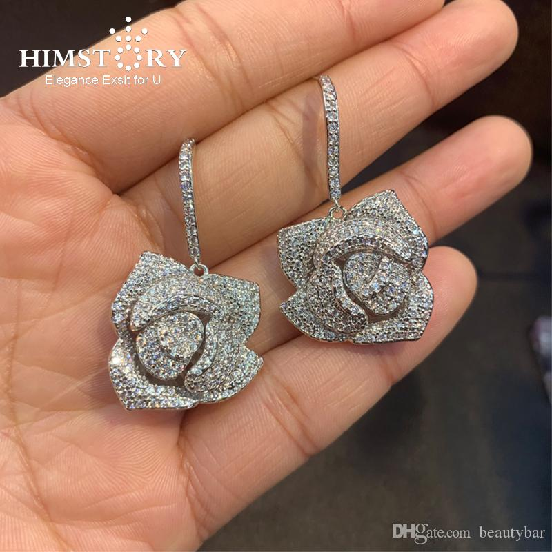 Himstory del oído 925 Zirconia Accesorios pendientes de la flor único Rose pendientes de la CZ pavimenta el pendiente elegante