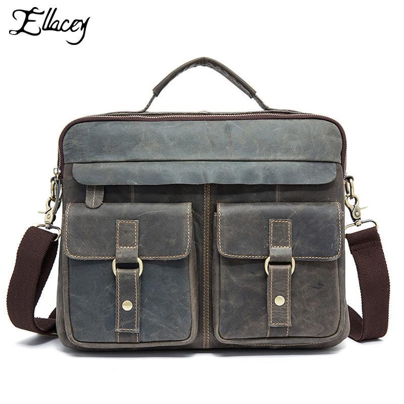 Men/'s Retro Genuine Leather Business Tote Briefcase Messenger Shoulder Bag New