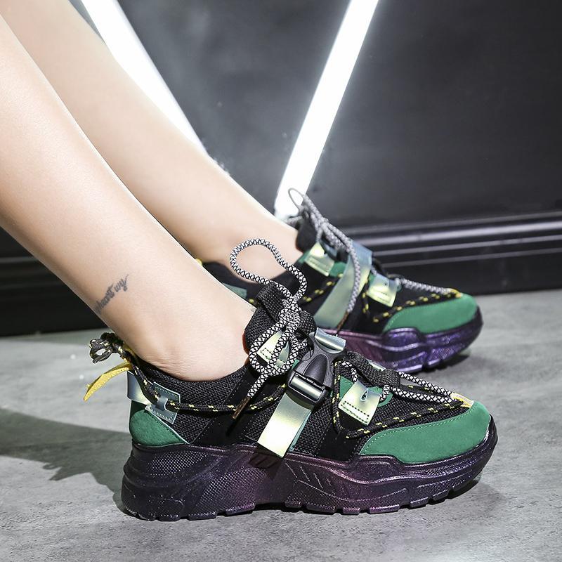 2019 nova Baideng Mulheres Running Shoes malha respirável Mulher Sneakers Platform Ladies Calçado Sapatos de desporto anda ao ar livre Grande Tamanho 42