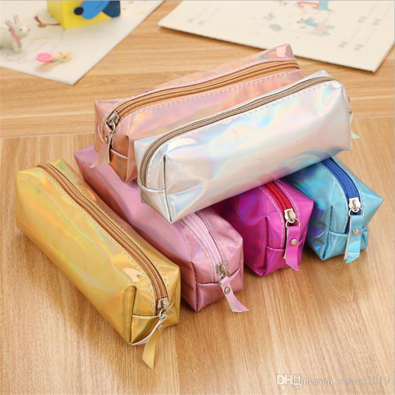Creative Iridescent Laser Pencil Cases PU School Supplies Stationery Gifts Pencilcase Student Cute Pencil Boxes Storage bag Pencil bags