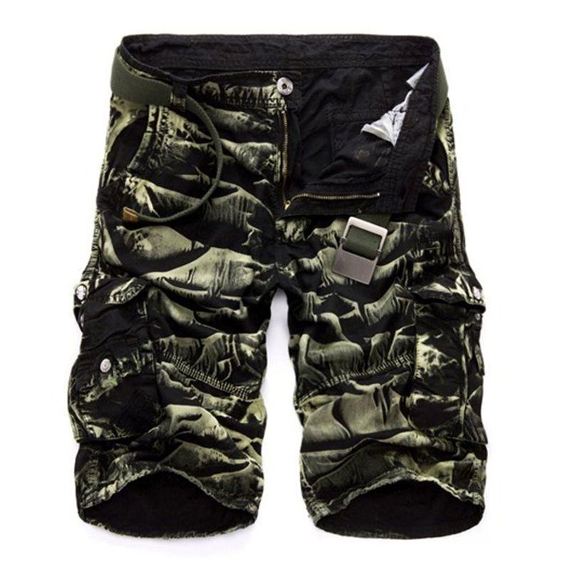 Mens Military Cargo-Shorts 2020 Brand New Armee-Tarnung Shorts Männer Baumwolllose Arbeit beiläufige kurze Hosen Kein Gürtel Y200511