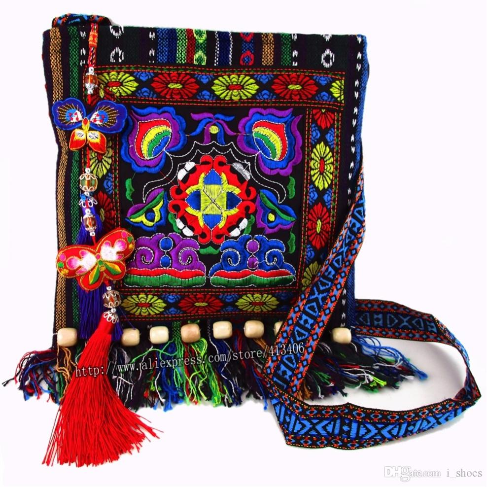 Free shipping fees Vintage Hmong Tribal Ethnic Thai Indian Boho shoulder bag message bag for women embroidery Tapestry SYS-005. #173229