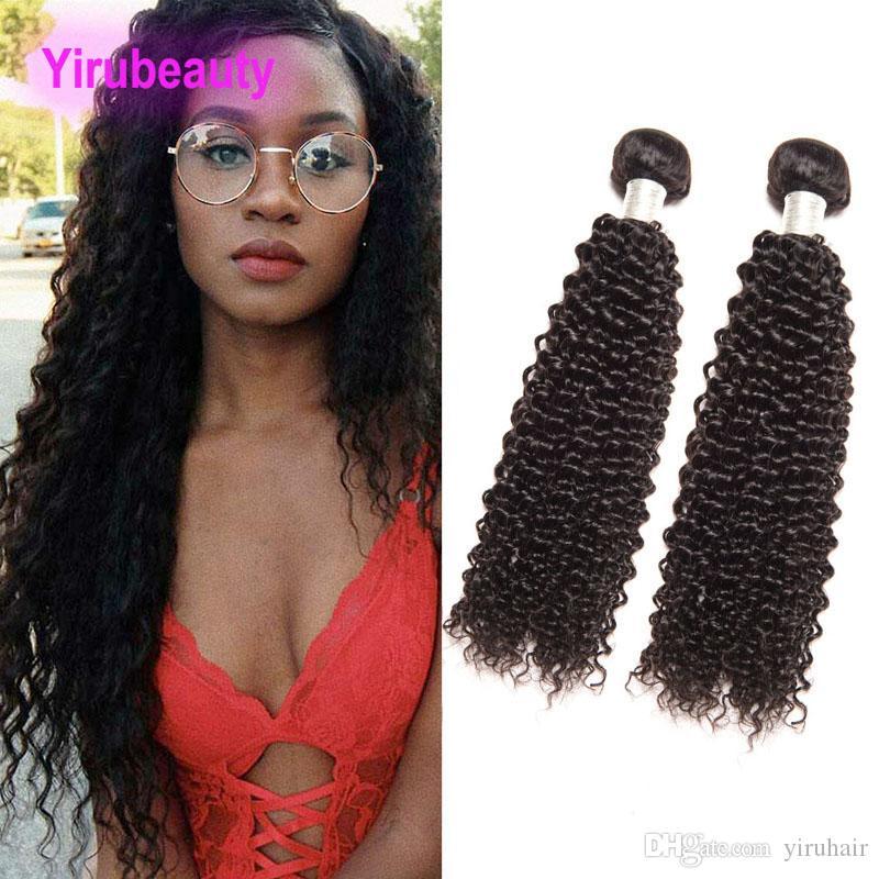 인도 원시 버진 인간의 머리카락 2 묶음 더블 Wefts 머리 짜다 곱슬 머리 곱슬 머리 8-28 인치 인도 머리카락 확장 tissueage Curly