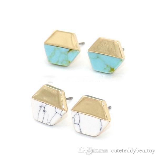 Tarquoise  Stones Woman Jewellery Tarquoise Natural Earrings Gift Earrings Hoops Earrings Black Marble Stones