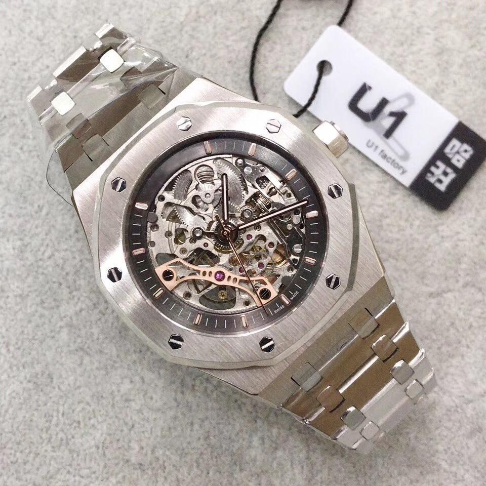 U1 공장 높은 품질 남성 시계 42mm 중공 해골 316L 스테인레스 스틸 스트랩 멀티 컬러 남성 손목 시계 다이얼