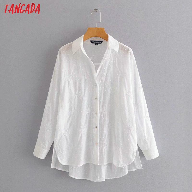 Tangada Delle Donne Del Ricamo Bianco Camicie di cotone a maniche Lunghe Solido Elegante Signore dell'ufficio di usura del lavoro camicette 3A80