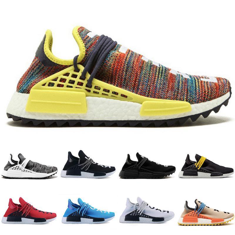 Human Race Hu Trail Pharrell Williams Hommes Courir Nerd Noir Rose Glow Hommes Femmes Formateurs Designer Sport Runner Chaussures de sport Chaussures de sport