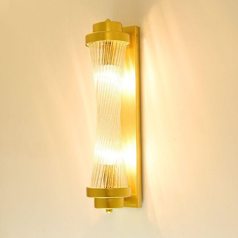 Hotel project light sitting room TV wall bracket light golden small pretty waist Roman column glass rod lamps wholesale
