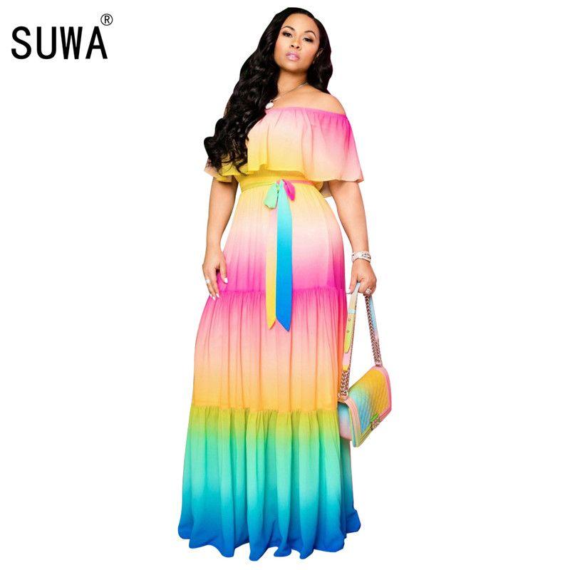 les femmes de couleur de gradient d'été de mode robe élégante plage volants été cou robe longue maxi vestidos femmes LONGO
