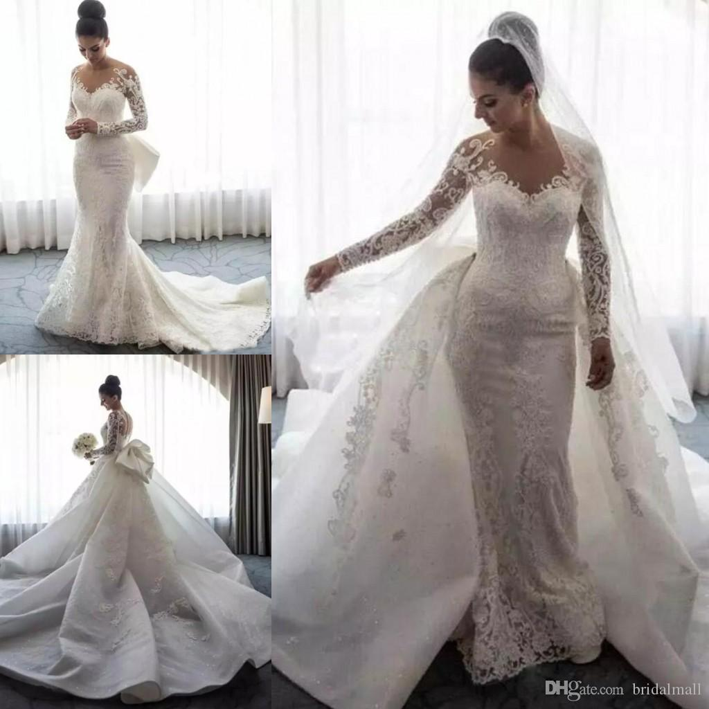 Sheer Neck Appliqued Lace Mermaid Wedding Dresses Overskirts Long Sleeve African Bridal Dress With Detachable Train Wedding Gowns Vestidos